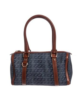 b3901459910 Gucci Blue Brown Canvas Leather Small Abbey Boston Bag In Blue And Brown