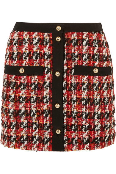 1234ea552 Alessandra Rich Button-Embellished BouclÉ-Tweed Mini Skirt In Red ...