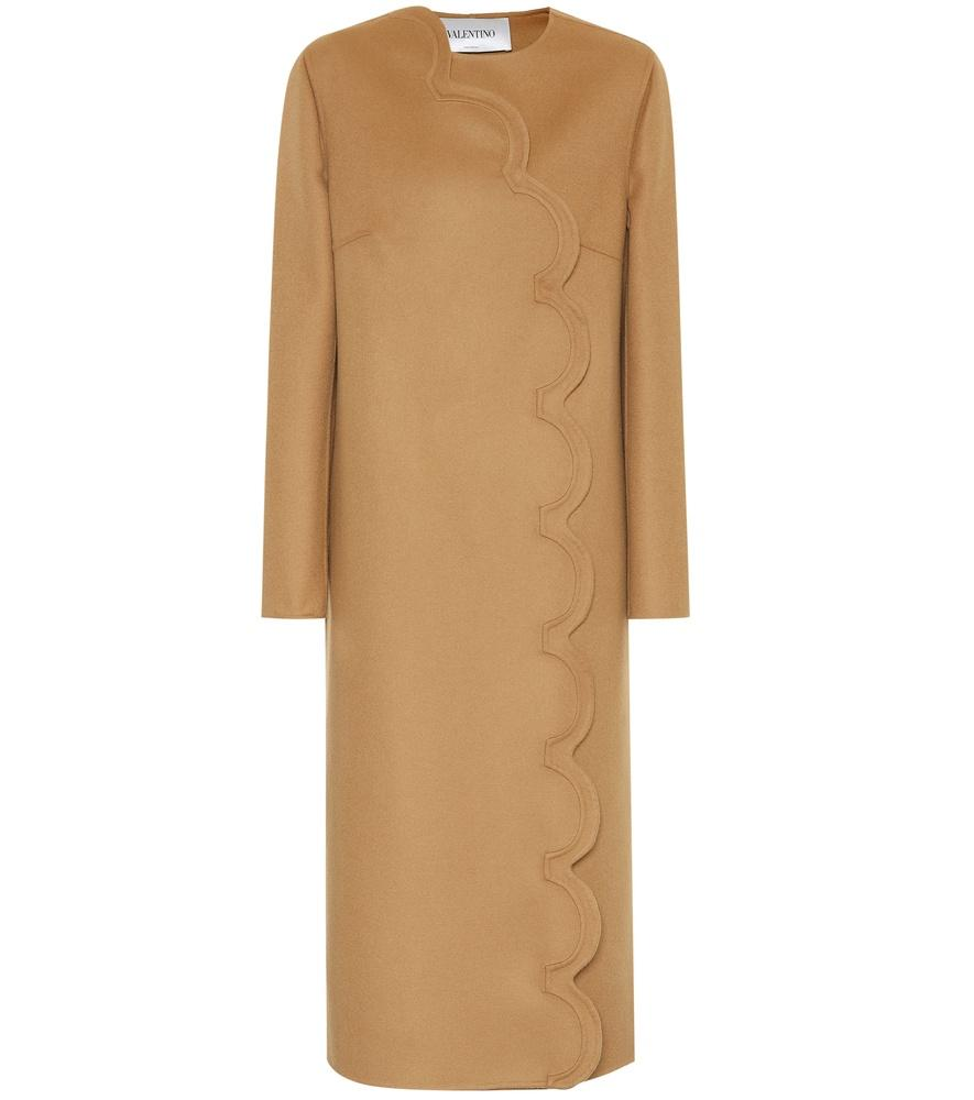 Valentino Cashmere And Wool Coat In Beige