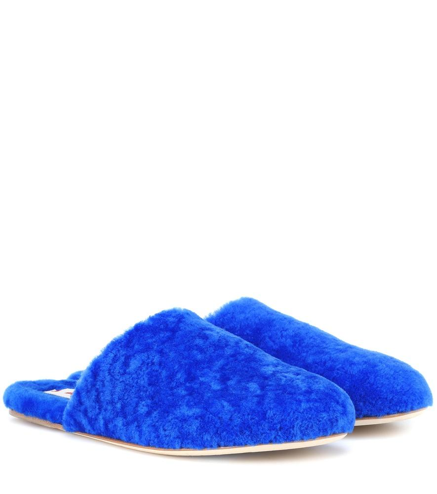 Marni Shearling Slippers In Blue