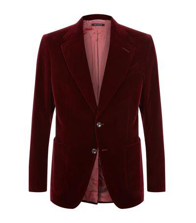 Tom Ford Merlot Shelton Slim-Fit Cotton-Velvet Tuxedo Jacket In Burgundy