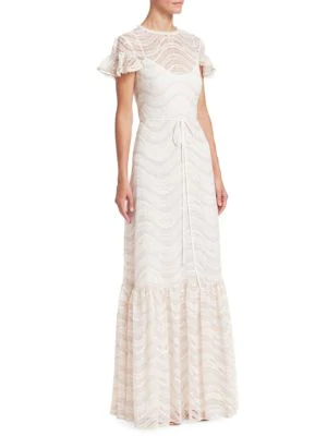 ml Monique Lhuillier Cap-sleeve Ruffled Lace Gown In Blush Multi