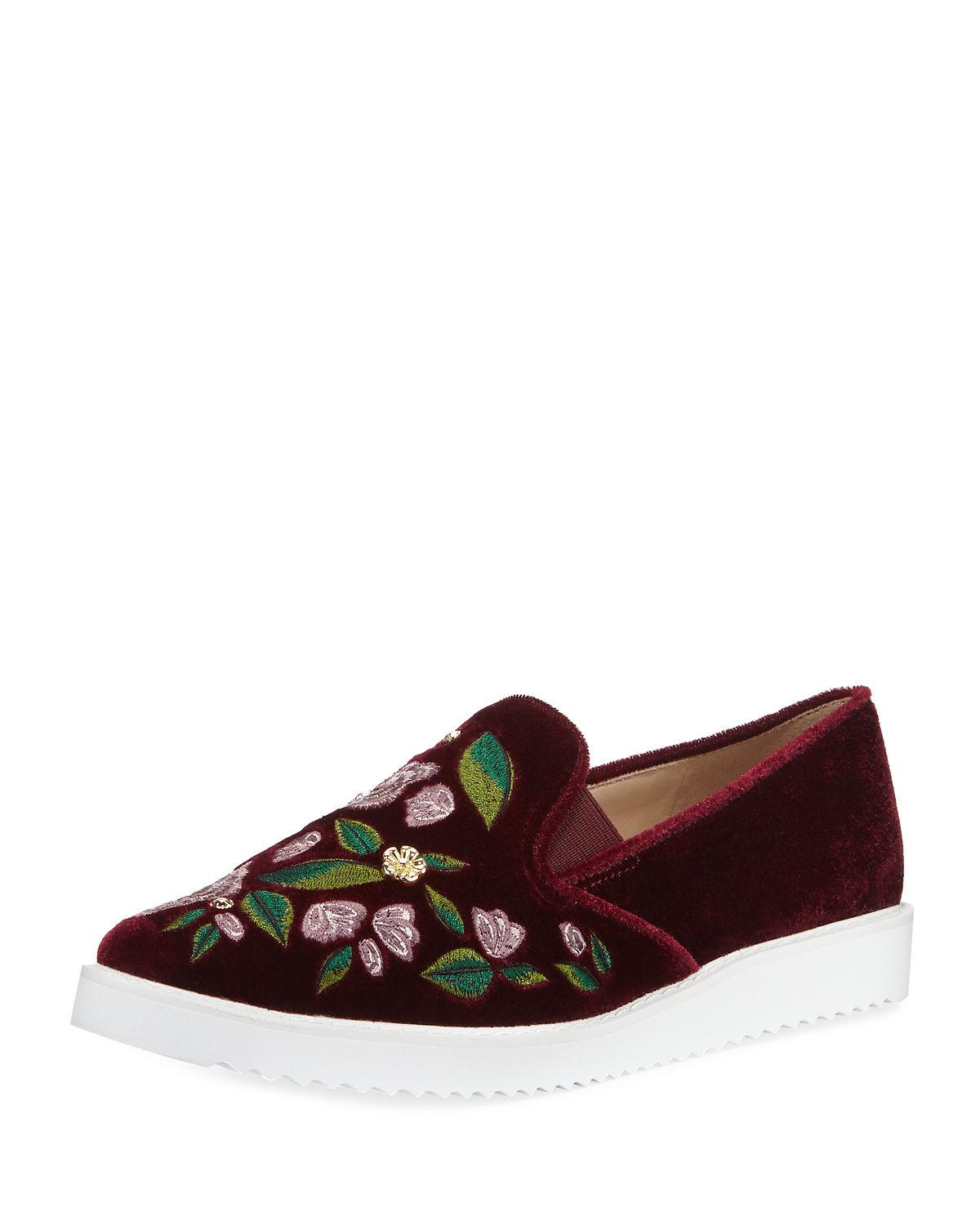 225f3d66035 Candice Embroidered Slip-On Sneaker in Dark Red