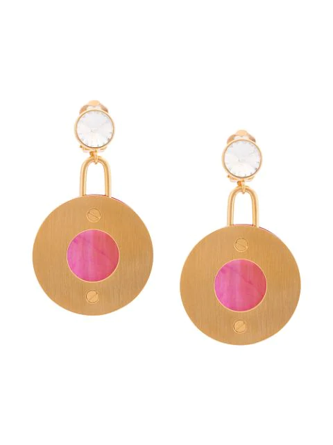 Marni Round Metal And Resin Clip-on Earrings In Pink