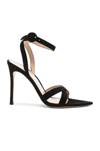 Gianvito Rossi Suede Alixia Ankle Strap Sandals In Black