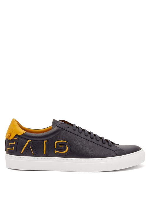 Givenchy - Urban Street Low Top Leather Trainers - Mens - Black Yellow In Blue