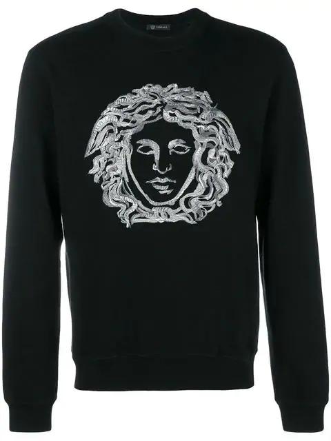 Versace Embroidered Cotton-Blend Jersey Weatshirt - Black