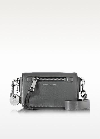 b6381b915046 Marc Jacobs Recruit Shadow Leather Crossbody Bag In Shadow Gray Silver.  FORZIERI