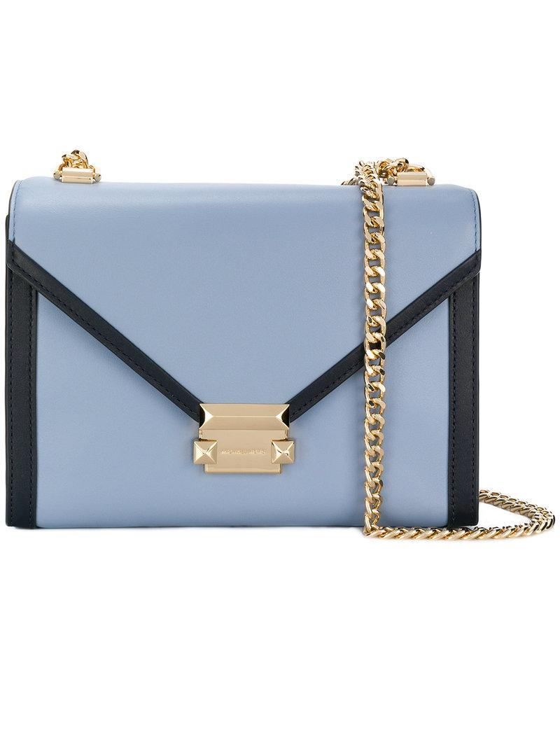 6a0151515 Michael Michael Kors Whitney Shoulder Bag Medium - Blue   ModeSens