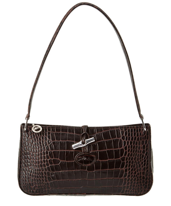 Longchamp Roseau Croco Embossed Leather Shoulder Bag' In Brown