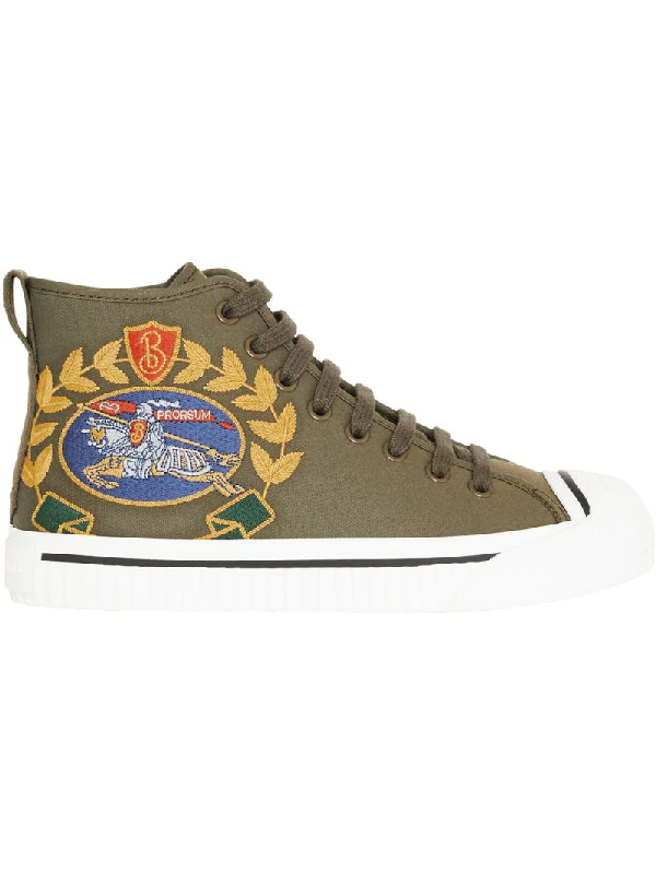 88b4598279ab Burberry Embroidered Archive Logo High-Top Sneakers In Green | ModeSens