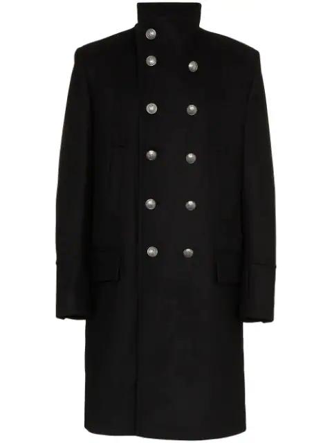 Balmain Wool And Cashmere-Blend Coat - Black