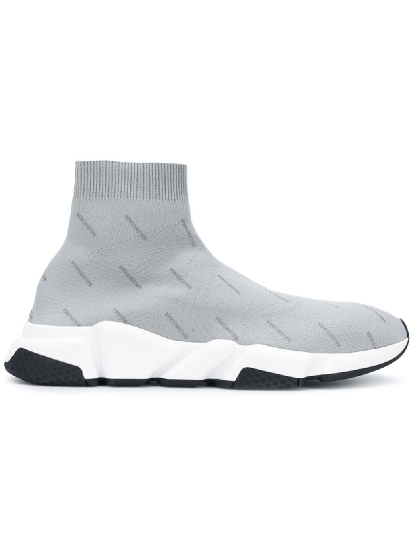Balenciaga Mens Grey Speed Knitted Mid-Top Sneakers