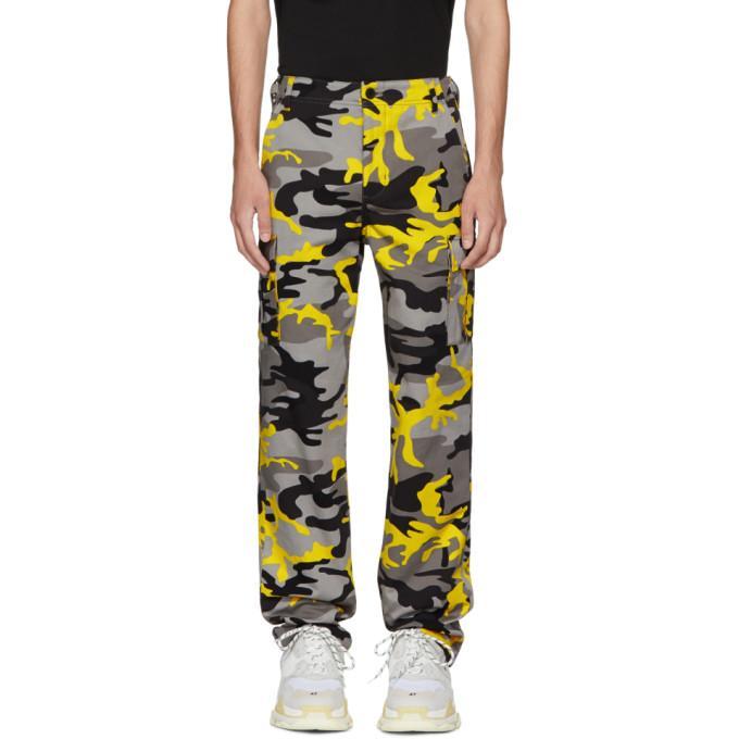 8482f0fce4f5 Balenciaga Slim-Fit Camouflage-Print Cotton-Twill Cargo Trousers - Yellow  In 8062