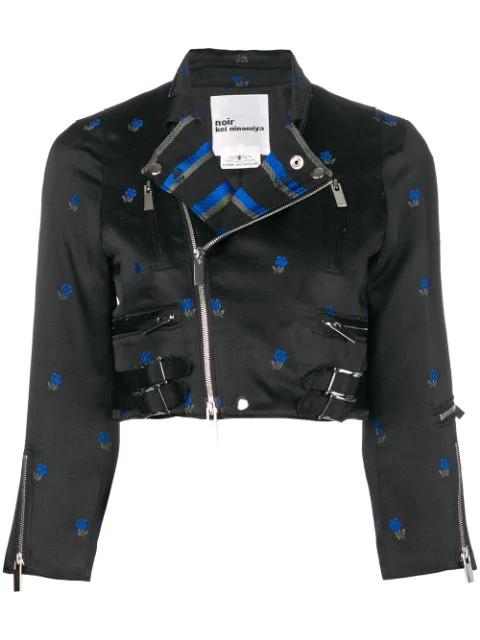 Comme Des GarÇOns Noir Kei Ninomiya Floral Jacquard Cropped Biker Jacket - Black