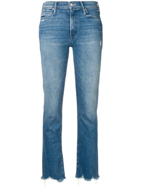 Mother 'Looker' Jeans Mit Ausgefranstem Saum Farfetch