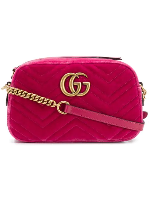 e8e65f6a9073 Gucci Pink Velvet Small Gg Marmont 2.0 Camera Bag In 5532 Rasber ...