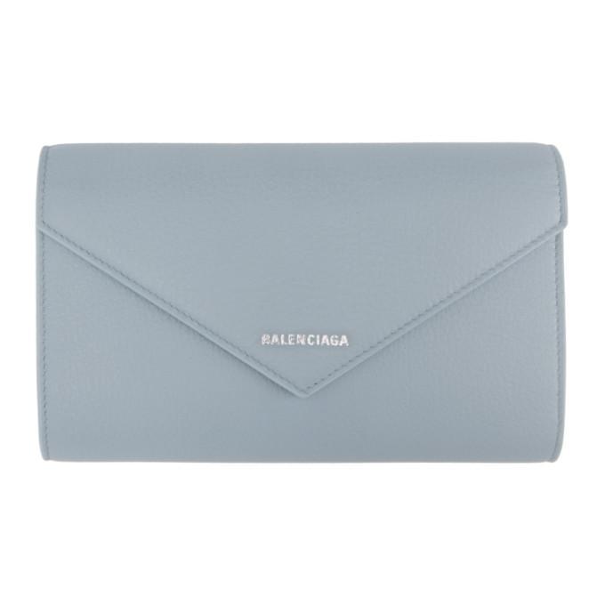 Balenciaga Blue Paper Zip Around Wallet In 4005 Bluegr