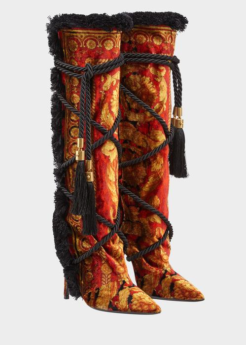 52db8662832 Versace Pillow Talk Wild Baroque Boots In Print