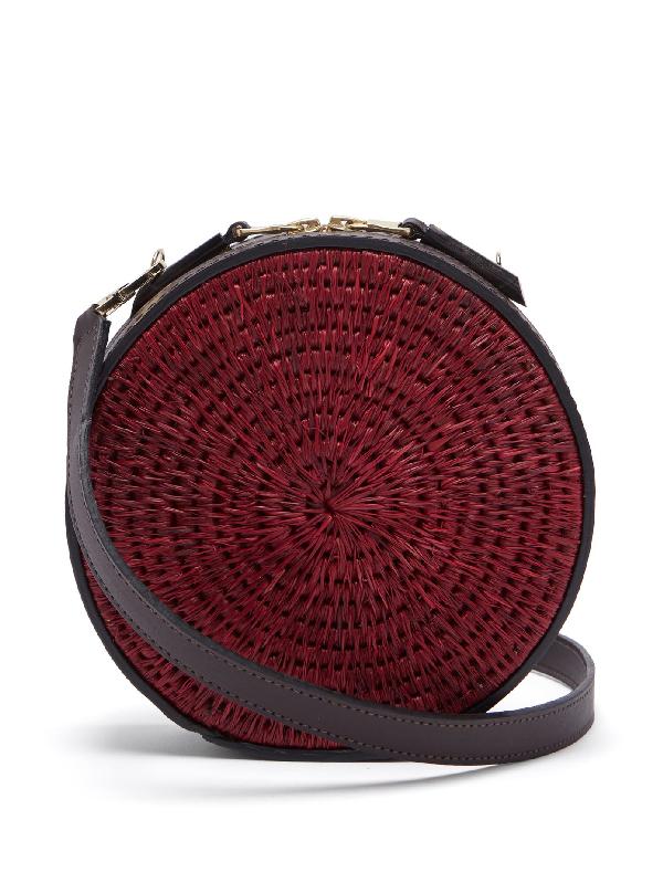 Khokho Sindi Leather-trimmed Basket Bag In Burgundy