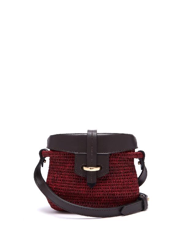 Khokho Jabu Leather-trimmed Mini Basket Bag In Burgundy