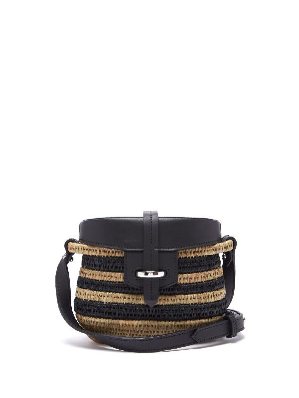 Khokho Jabu Leather-trimmed Striped Mini Basket Bag In Black Cream