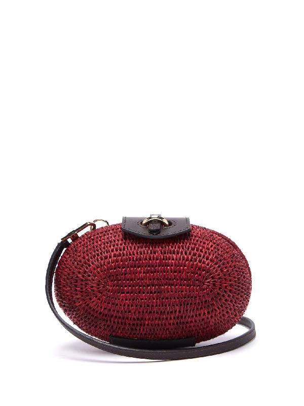 Khokho Lindi MinaudiÈre Leather-trimmed Basket Bag In Burgundy