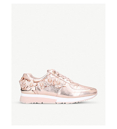 Michael Michael Kors Allie AppliquÉ Leather Trainers In Pale Pink