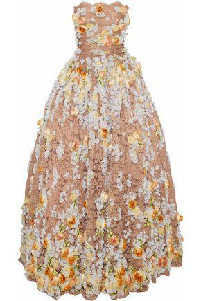Dolce & Gabbana Woman Strapless Embellished Lace Gown Blush