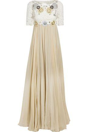 Dolce & Gabbana Woman Embellished Corded Lace-Paneled Silk-Blend Chiffon Gown Beige