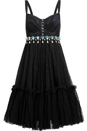 Dolce & Gabbana Woman Flared Embellished Lace, Satin And Point D'Esprit Dress Black