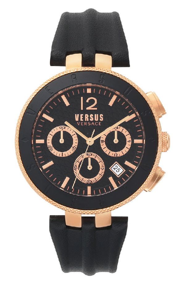 Versace Versus Men's Logo Chronograph Black Leather Strap Watch 44Mm