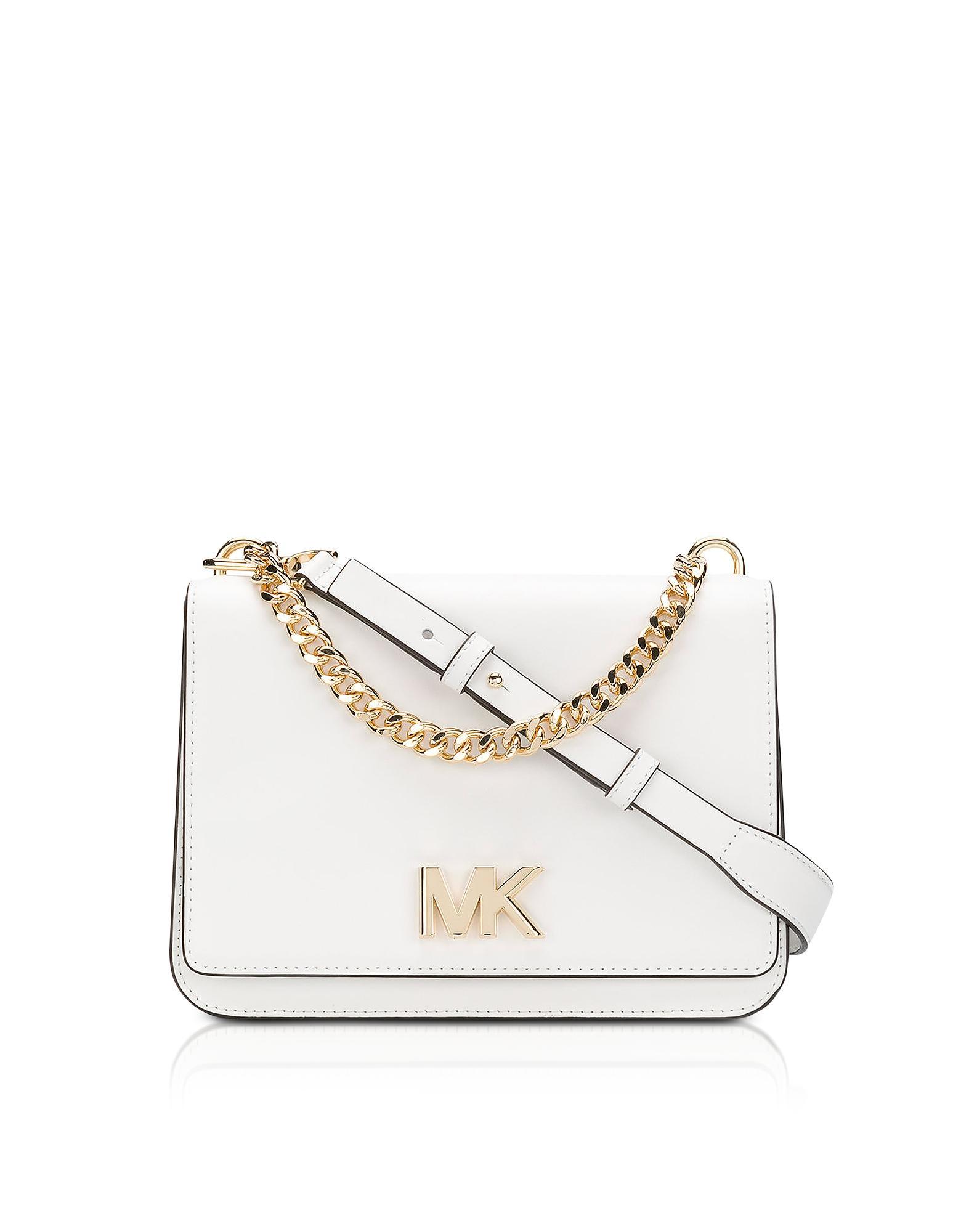 Michael Kors Mott Leather Crossbody Bag In Optic White