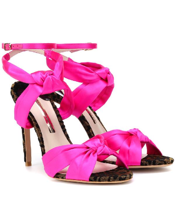 Sophia Webster Violette Velvet-Trimmed Satin Sandals In Pink