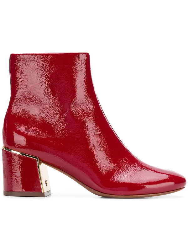 11ce931f7 Tory Burch Women s Juliana Tumbled Patent Leather Booties In Red ...