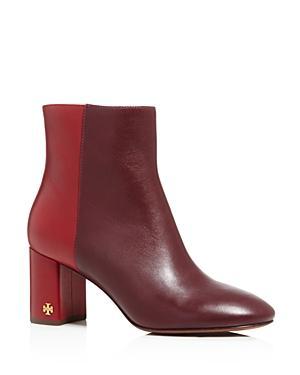 863dd6a60b9e Tory Burch Women s Brooke Two-Tone Block Heel Booties In New Claret ...