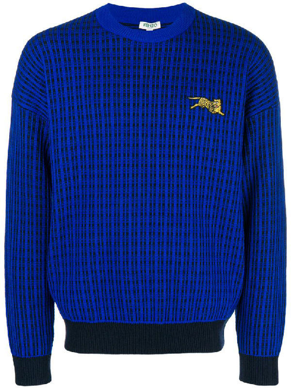 778388901a Kenzo Flying Tiger-Embroidered Wool-Blend Jumper In Blue | ModeSens