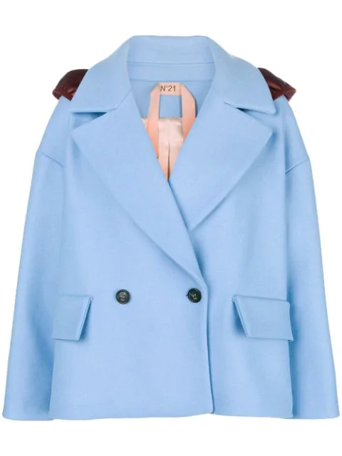 N°21 Oversized Double-Breasted Hooded Jacket In Blue