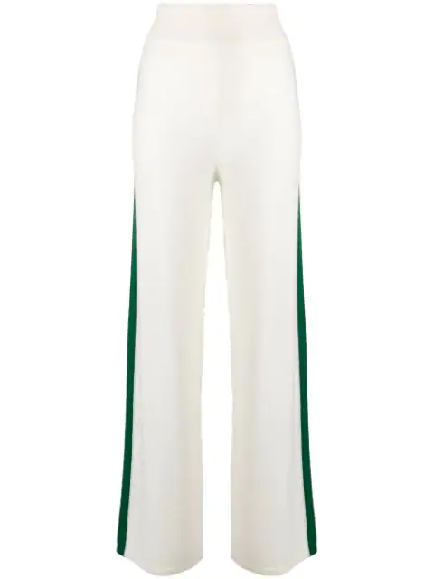 Cashmere In Love Cashmere Blend Side Stripe Track Pants In White