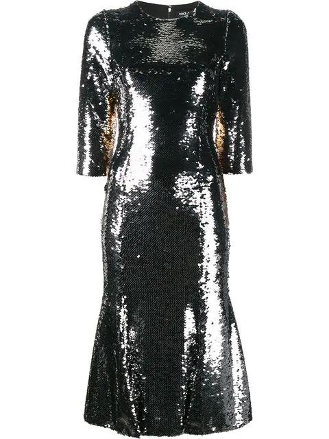 Dolce & Gabbana Sequin Embellished Dress - Metallic