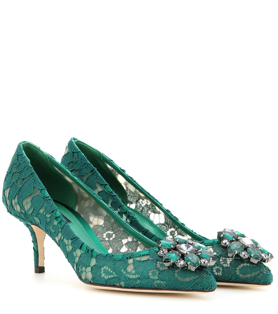 Dolce & Gabbana Embellished Lace Point-Toe Pumps In Green