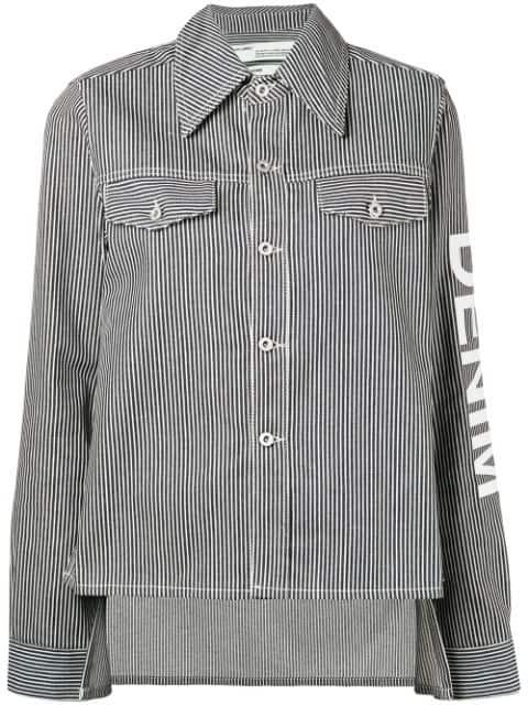 Off-White Striped Denim Jacket - Blue