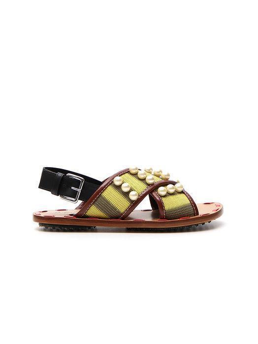 2666738f302f Marni Striped Pearl Criss Cross Sandals In Multi