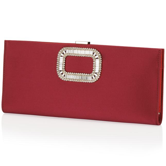 Roger Vivier Crystal Pilgrim Buckle Clutch Bag, Cherry In Red