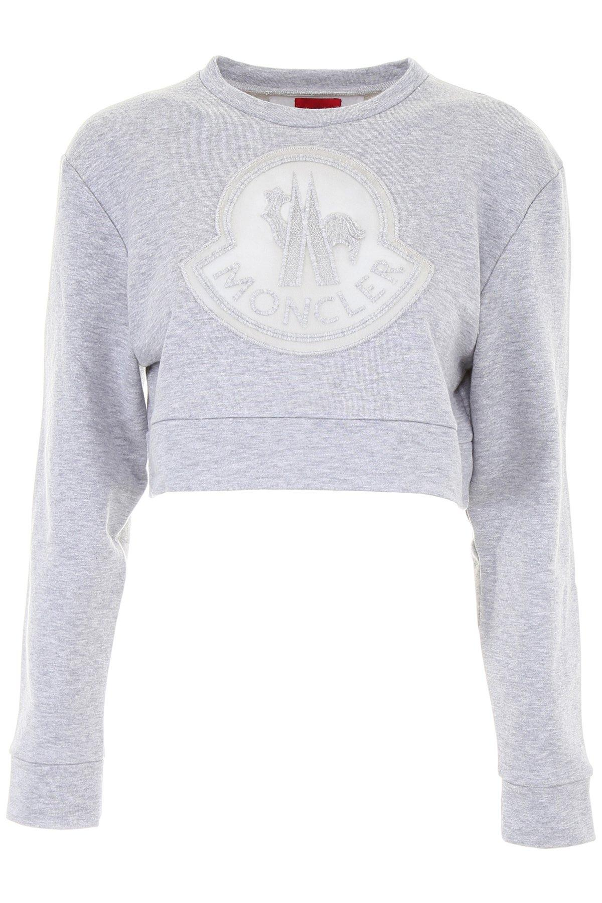 a8b6db3ab950 Moncler Gamme Rouge Cropped Sweater In Grey | ModeSens