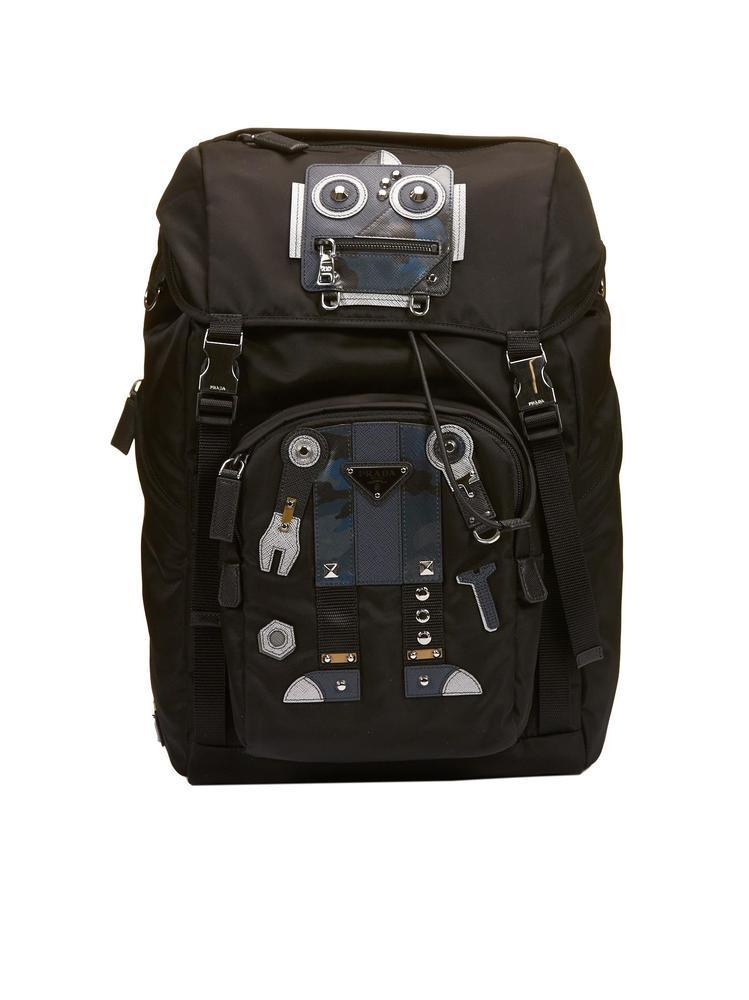 255621c85d22 Prada Robot Patch Buckle Backpack In Black | ModeSens