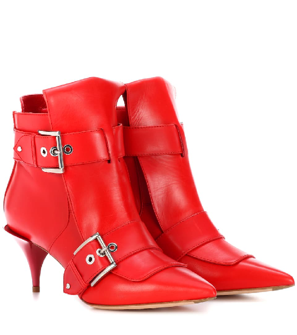 Alexander Mcqueen Leather Ankle Boots In Red