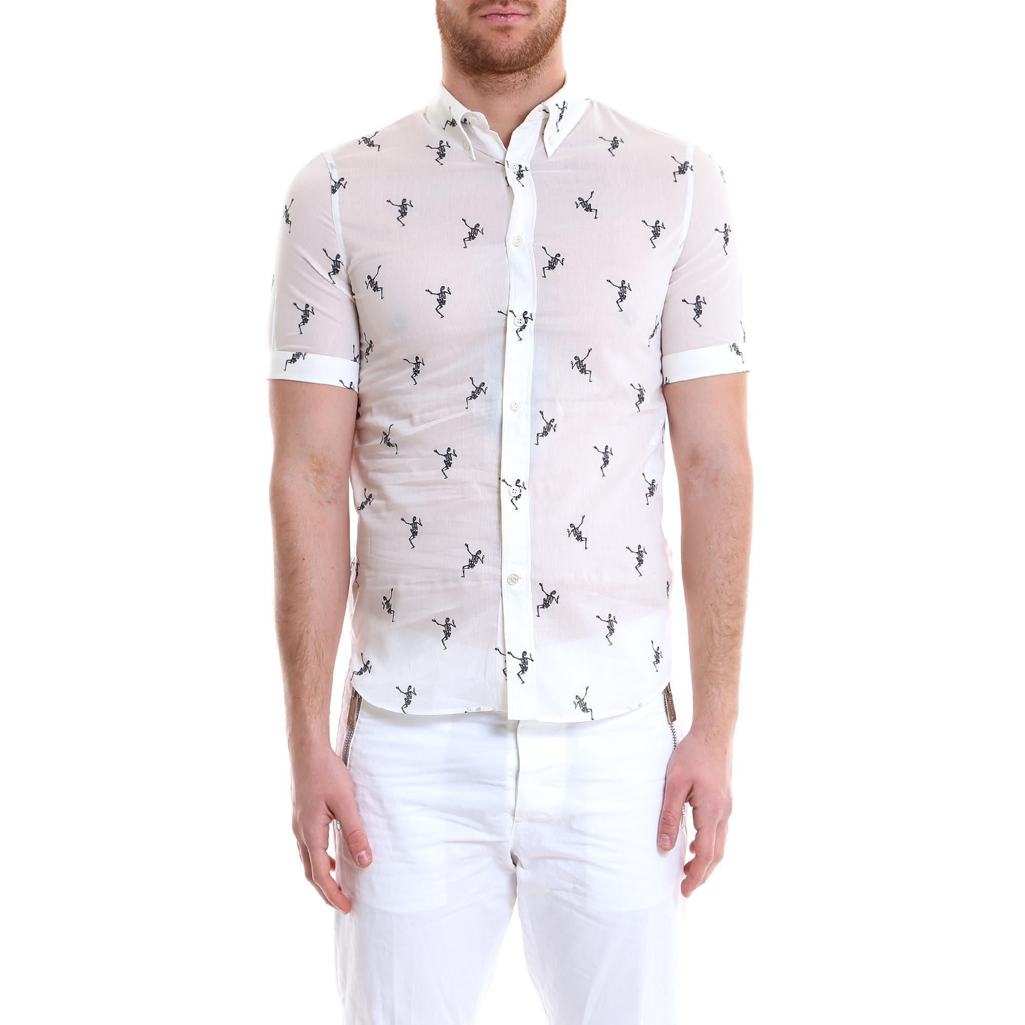39c11d5a Alexander Mcqueen Dancing Skeleton Shirt In White | ModeSens