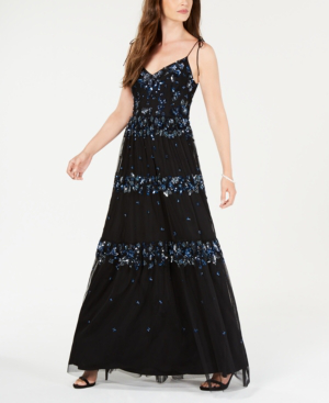 Adrianna Papell Sequin-embellished Sleeveless Gown In Evening Sky Multi