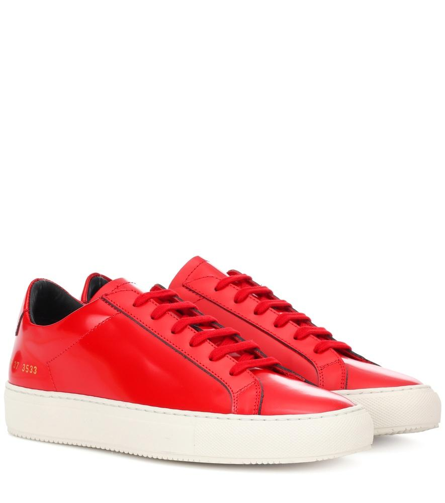 Common Projects Achilles Premium Leather Sneakers In Red